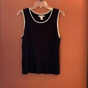 Evie. Black sweater tank with cream lining sz M